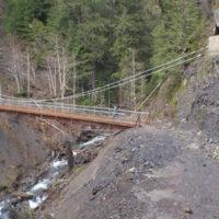 Olympic Hotsprings trail suspension bridge