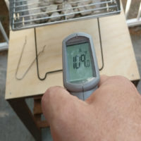 temperature reading under the UCO Flat Pack grill while in operation