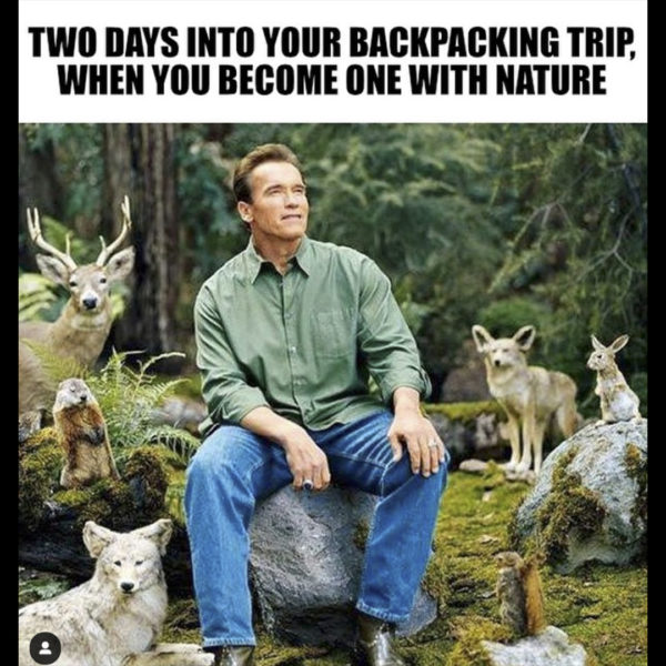 Two days into your backpacking trip when you become one with nature meme