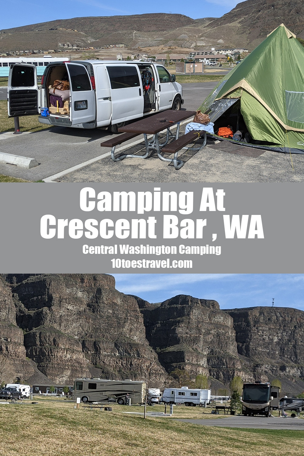 Information on camping at Crescent Bar Recreation Area near Quincy, Washington