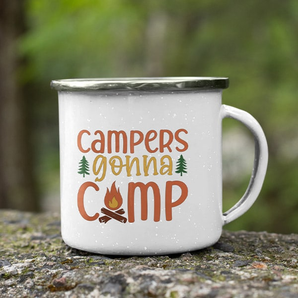 campers gonna camp enameled coffee mug for camping