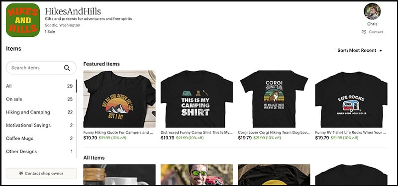 Hikes and Hills store with outdoor merch, camping t-shirts, presents for hikers and more