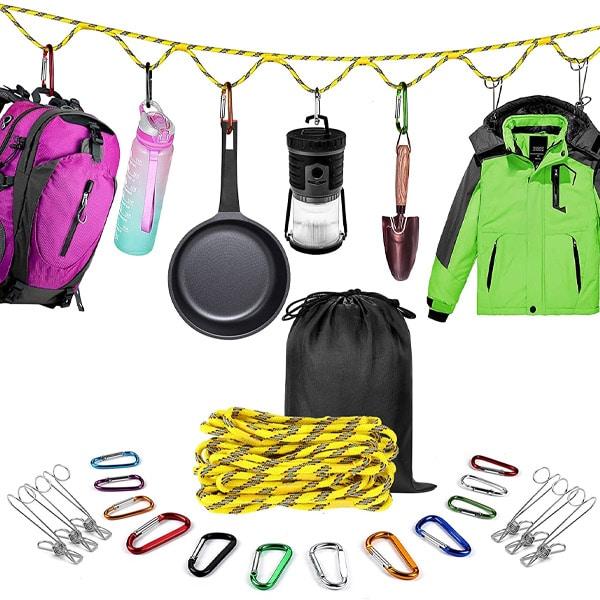 camping gadget - hanging storage strap for camping organization.